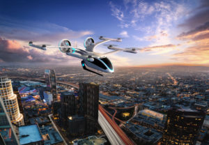 Evtol Flying Alone Over Los Angeles
