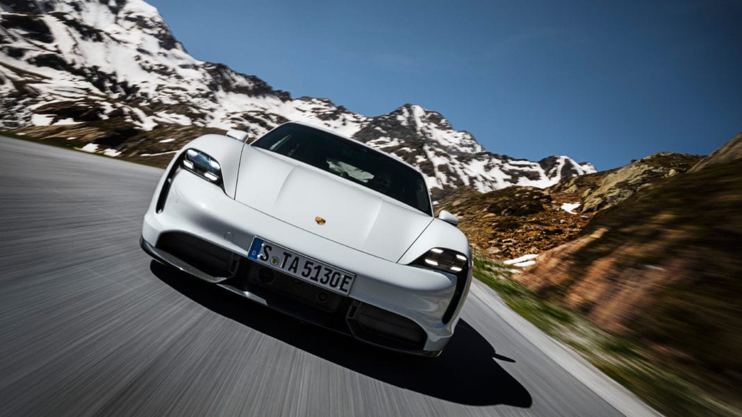 Porsche Taycan Turbo S on the road