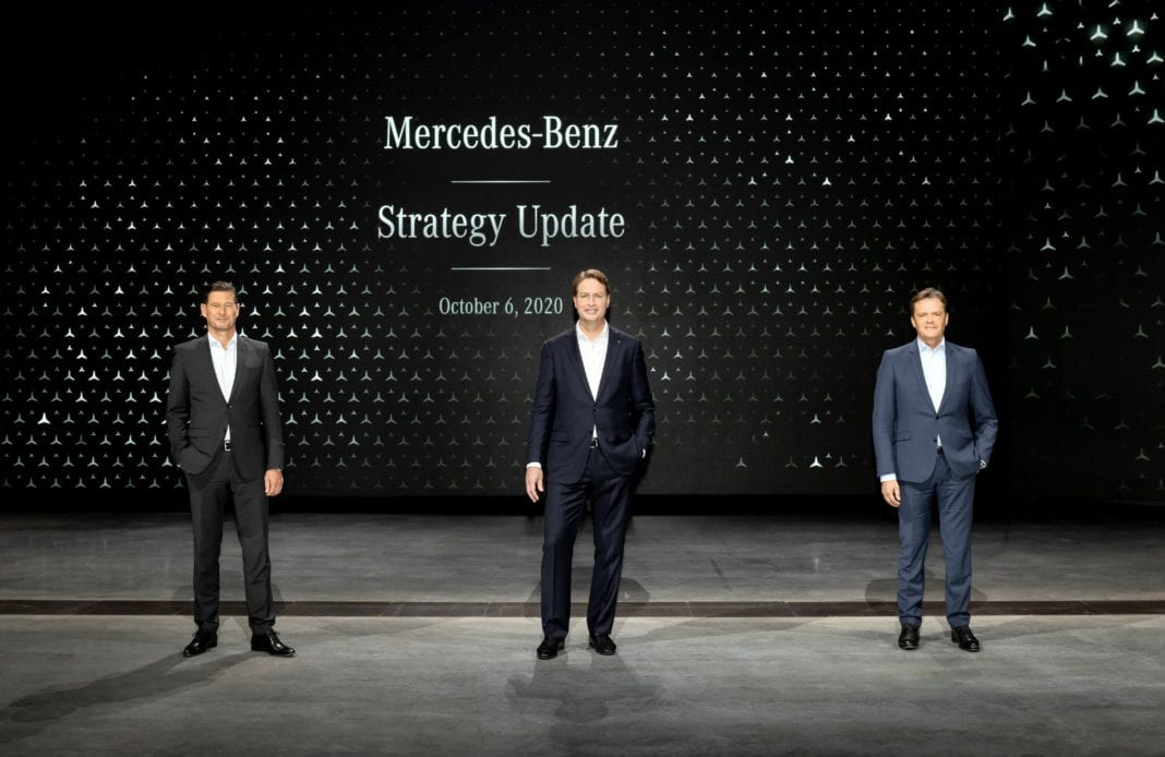 From left to right: Harald Wilhelm, CFO of Mercedes-Benz AG, Ola Källenius, CEO of Mercedes-Benz AG, and Markus Schäfer, COO of Mercedes-Benz AG, at a virtual on-line investor and analyst conference titled »Mercedes-Benz Strategy Update« on October 6, 2020.