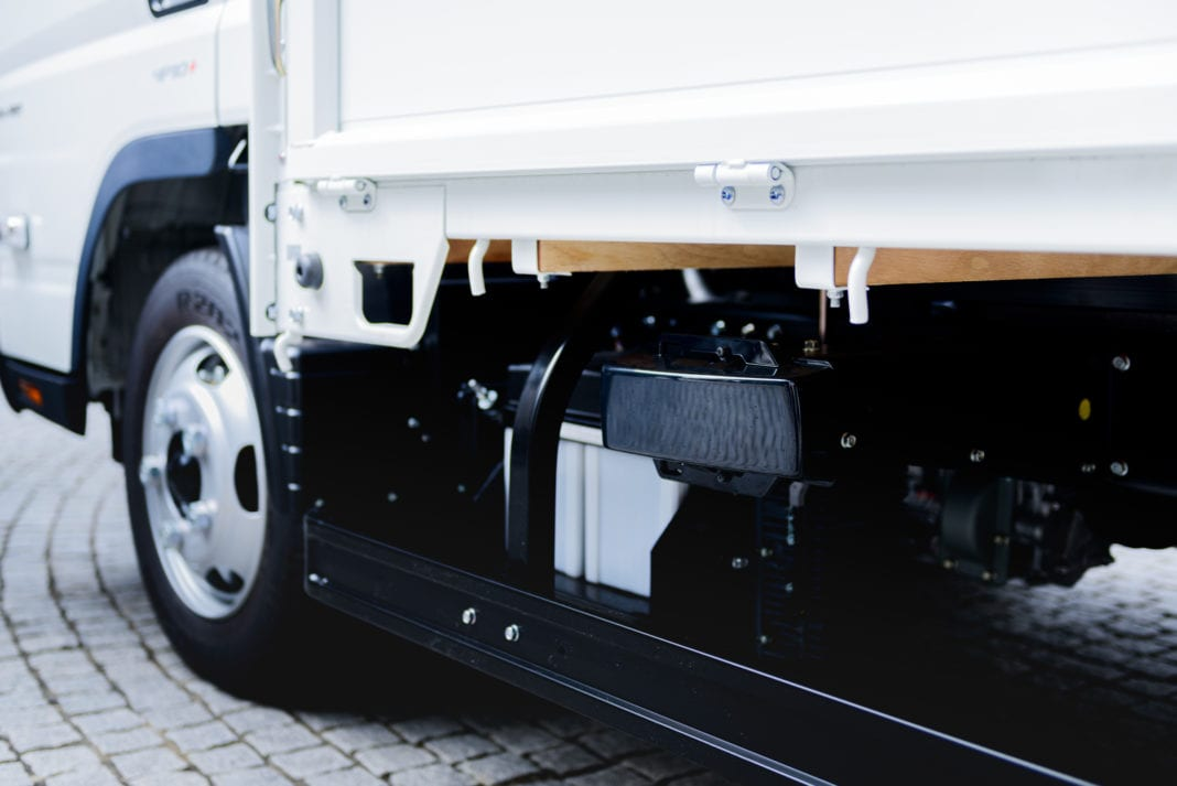 The Active Sideguard Assist feature newly installed in the new Canter