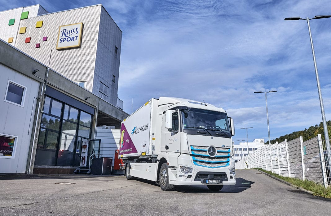 Electric. Practical. Good. – Ritter Sport uses all-electric Mercedes-Benz eActros for production supply