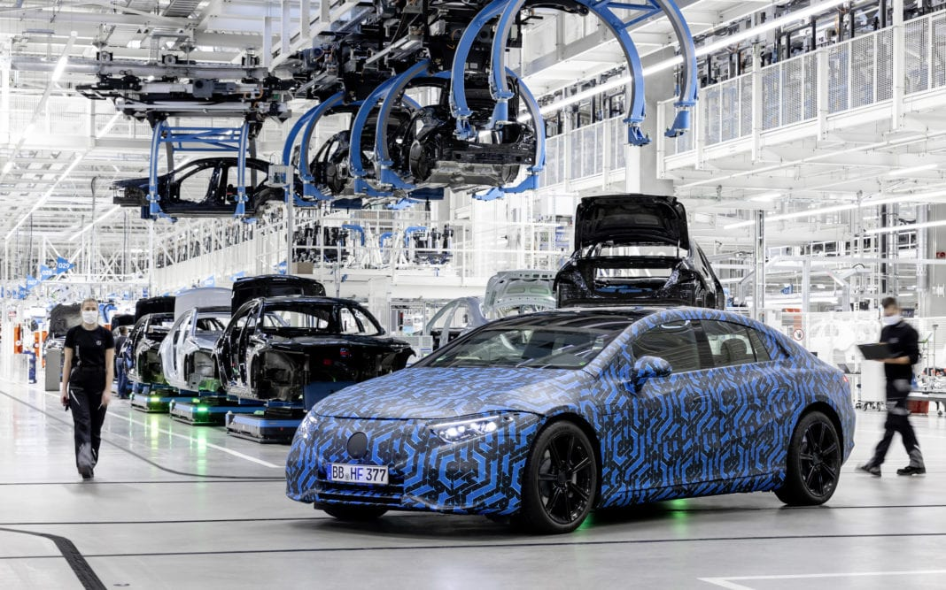 Mercedes-EQ, EQS at the Factory 56 at the Mercedes-Benz plant in Sindelfingen: In the first half of 2021, production of the EQS l uxury electric sedan will start in Factory 56 at the Mercedes-Benz plant in Sindelfingen.