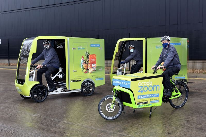 Ocado Zoom Electric Assisted And Pedal Powered Delivery Vehicles In Acton, London
