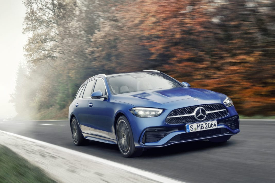 Mercedes-Benz C-Class Estate, 2021, spectral blue, neva grey/black leather