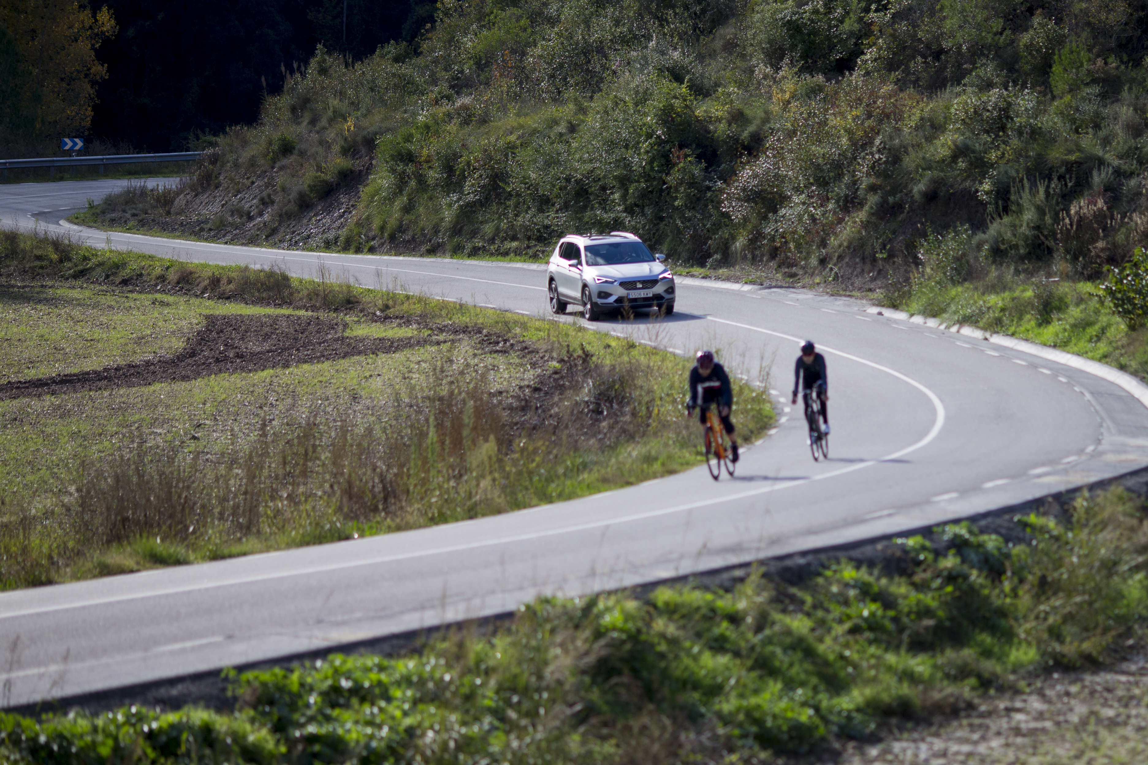 At 72 km/h, the vehicle begins to brake 20 metres prior to a possible collision with a cyclist
