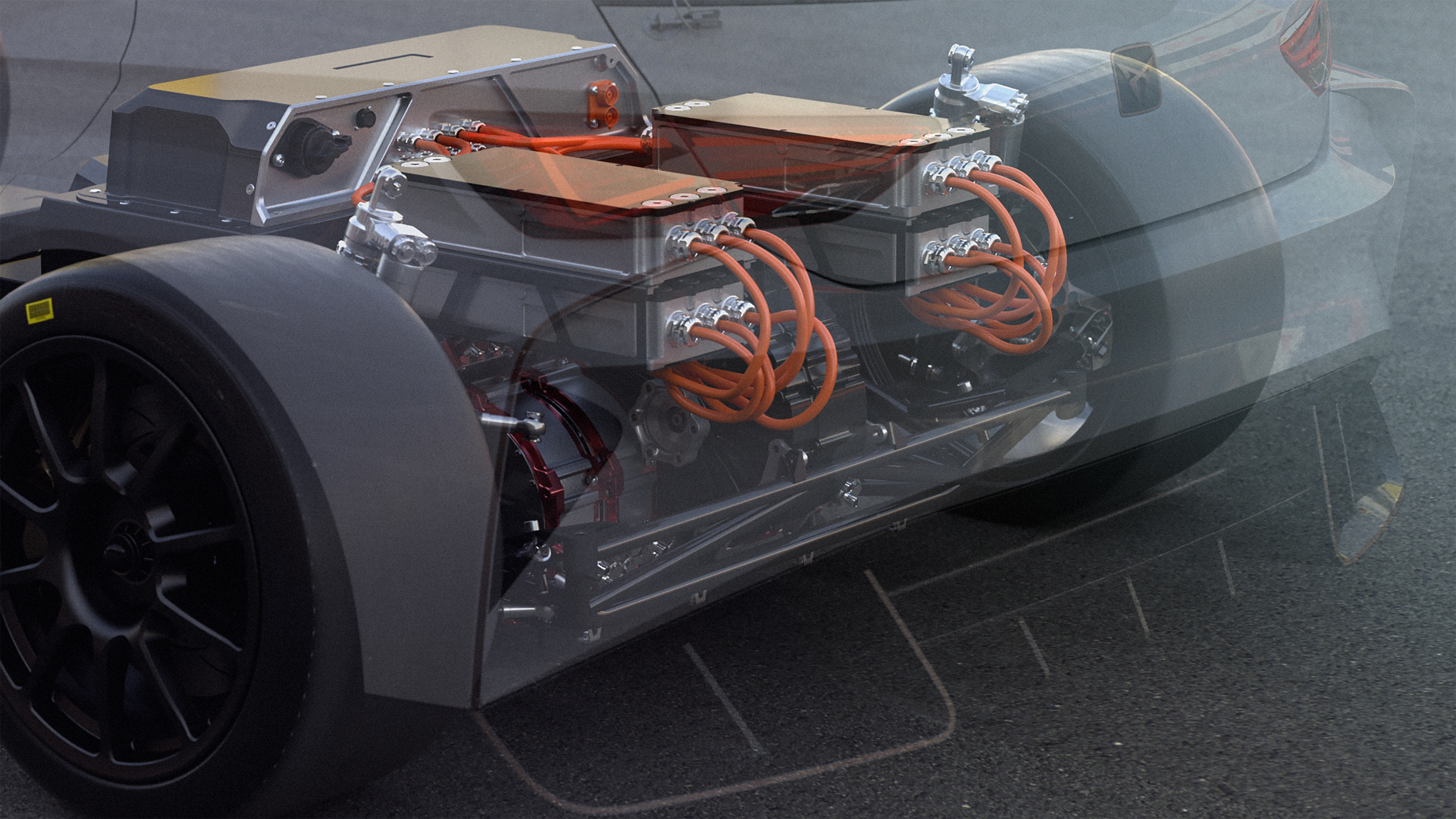 The four engines are mounted over the rear axle and deliver 680 hp